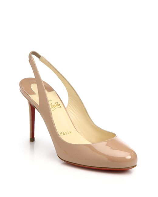 Christian Louboutin | Natural Fifi Patent Leather Slingbacks | Lyst
