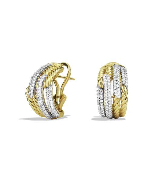 David Yurman - Metallic Labyrinth Double-loop Earrings With Diamonds In Gold - Lyst