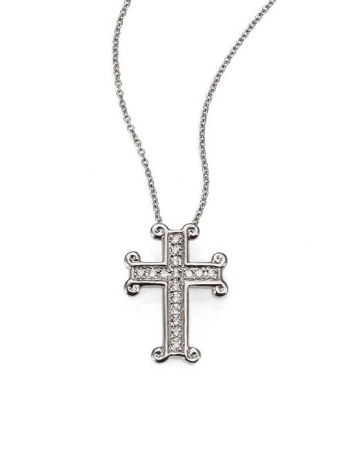 Roberto Coin | Metallic Tiny Treasures Diamond & 18k White Gold Cross Pendant Necklace | Lyst