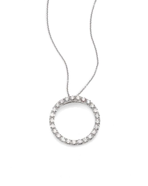"""Roberto Coin   Metallic 18k White Gold And Diamond Large Circle Necklace, 16""""   Lyst"""