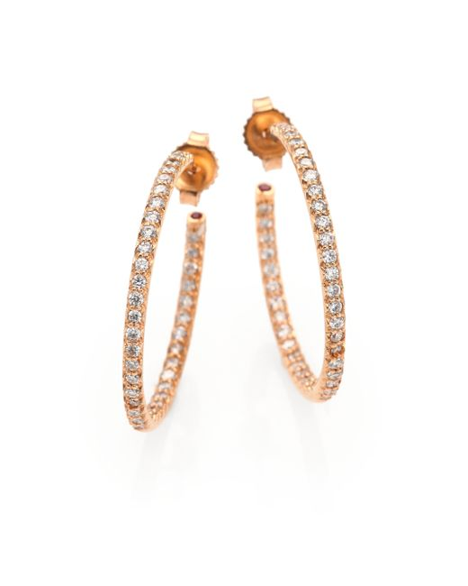 Roberto Coin | Metallic Diamond & 18k Rose Gold Inside-outside Hoop Earrings/1 | Lyst