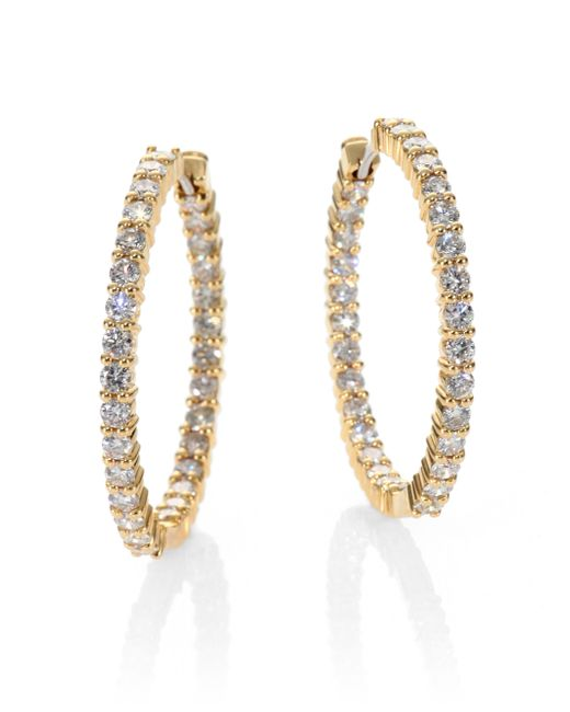 Roberto Coin | Metallic Diamond & 18k Yellow Gold Hoop Earrings/1.15 | Lyst