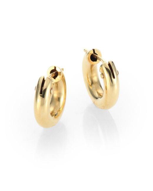 Roberto Coin | Metallic 18k Yellow Gold Huggie Hoop Earrings/0.5 | Lyst