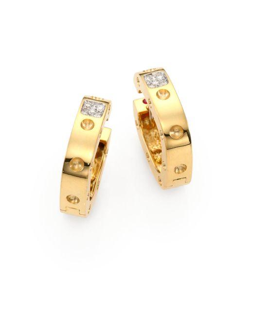 Roberto Coin   Metallic Pois Moi Diamond & 18k Yellow Gold Hoop Earrings/0.75   Lyst
