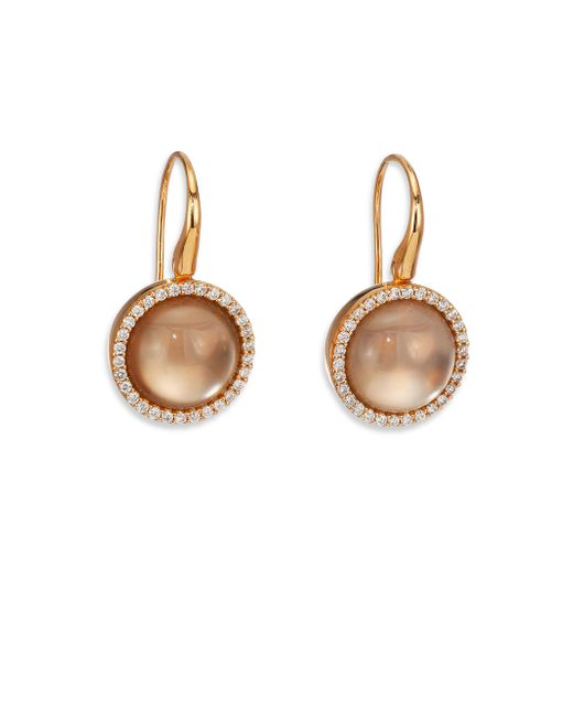 Roberto Coin | Metallic Cocktail Smoky Quartz, Mother-of-pearl, Diamond & 18k Rose Gold Drop Earrings | Lyst