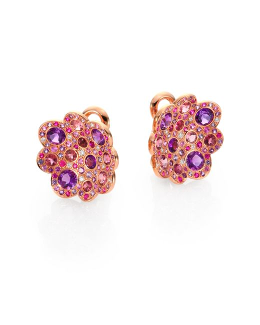 Roberto Coin | Multicolor Semi-precious Multi-stone & 18k Rose Gold Floral Button Earrings | Lyst