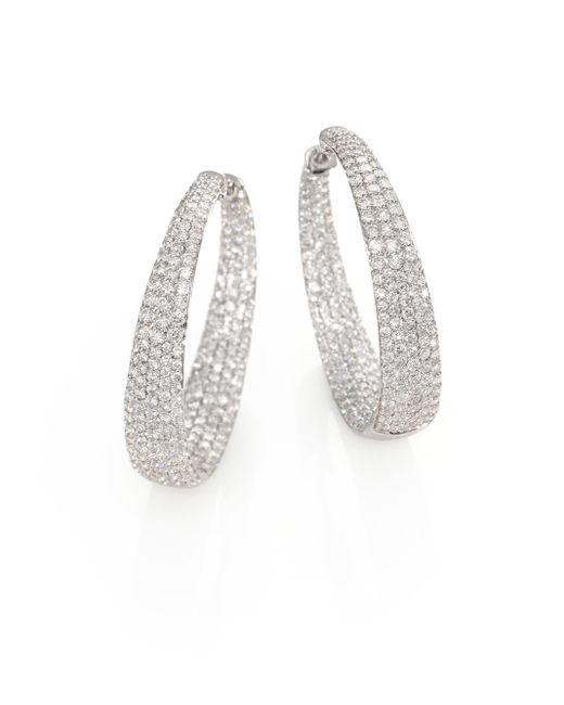 Roberto Coin | Metallic Scalare Diamond & 18k White Gold Inside-outside Hoop Earrings/1.15 | Lyst
