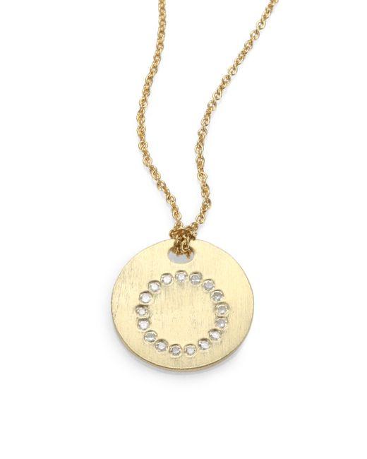 Roberto Coin | Metallic Tiny Treasures Diamond & 18k Yellow Gold Initial Pendant Necklace | Lyst