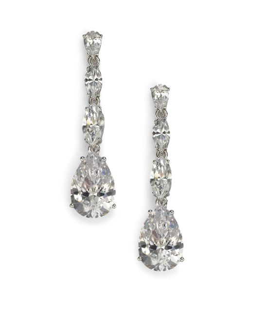 Adriana Orsini | Metallic Sterling Silver Pear Drop Linear Earrings | Lyst