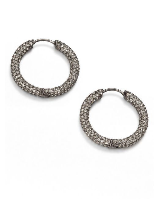 Adriana Orsini | Metallic Pave Hoop Earrings/1.5 | Lyst