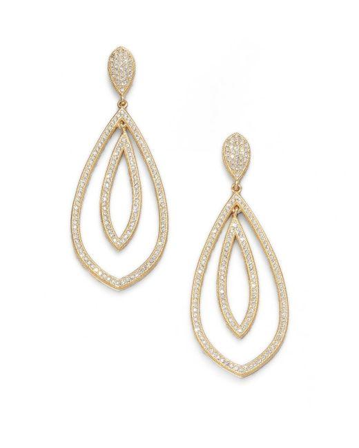 Adriana Orsini | Metallic Double Teardrop Sparkle Earrings/gold | Lyst