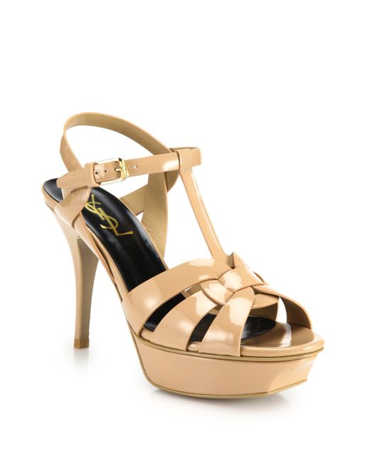 Saint Laurent | Natural Tribute Patent Leather Platform Sandals | Lyst