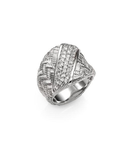 Judith Ripka | Metallic Mercer White Sapphire & Sterling Silver Berge Saddle Ring | Lyst