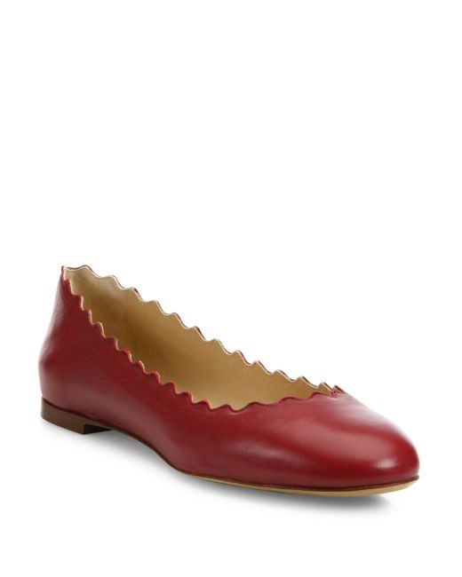 Chloé | Red Scalloped Leather Ballet Flats | Lyst