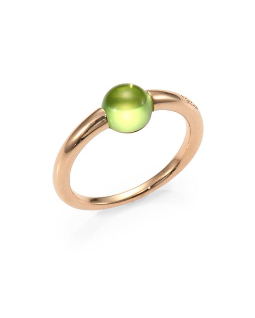 Pomellato | Green Peridot Cabochon & Rose Gold Ring | Lyst