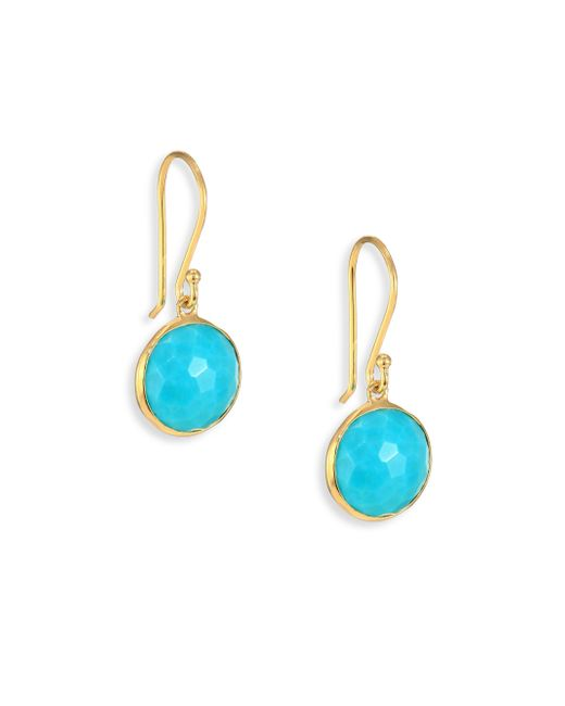 Ippolita | Blue Lollipop Turquoise & 18k Yellow Gold Mini Drop Earrings | Lyst