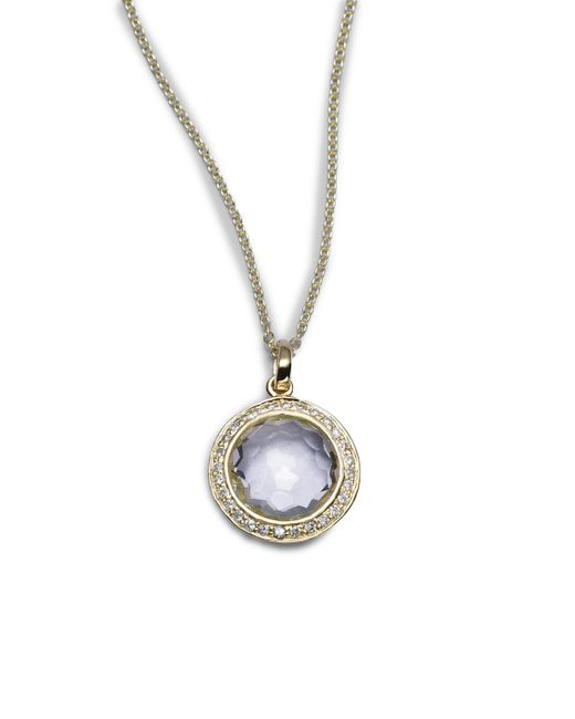 Ippolita | Metallic Lollipop Clear Quartz, Diamond & 18k Yellow Gold Mini Pendant Necklace | Lyst