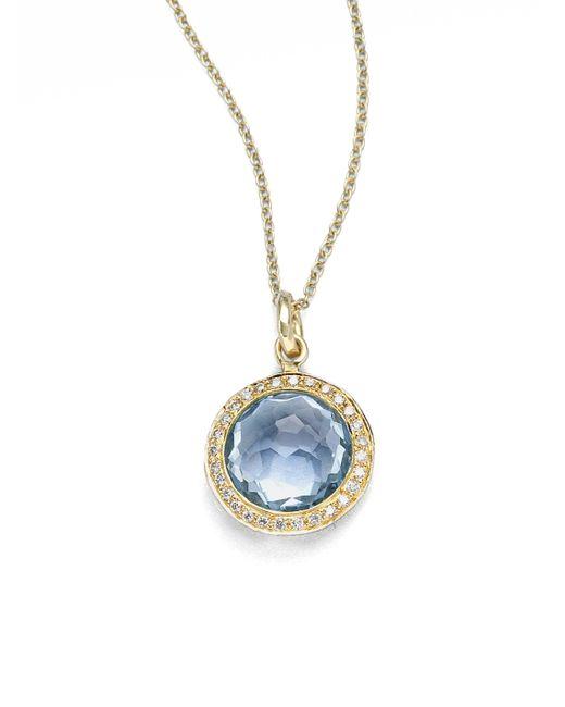 Ippolita | Metallic Lollipop Blue Topaz, Diamond & 18k Yellow Gold Mini Pendant Necklace | Lyst