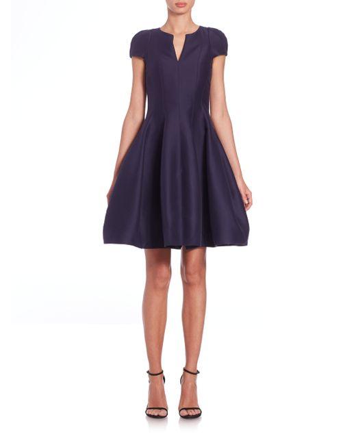 Halston Heritage | Blue Cap-sleeve Sateen Dress | Lyst
