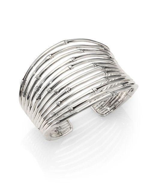 John Hardy | Metallic Bamboo Sterling Silver Wide Cuff Bracelet | Lyst