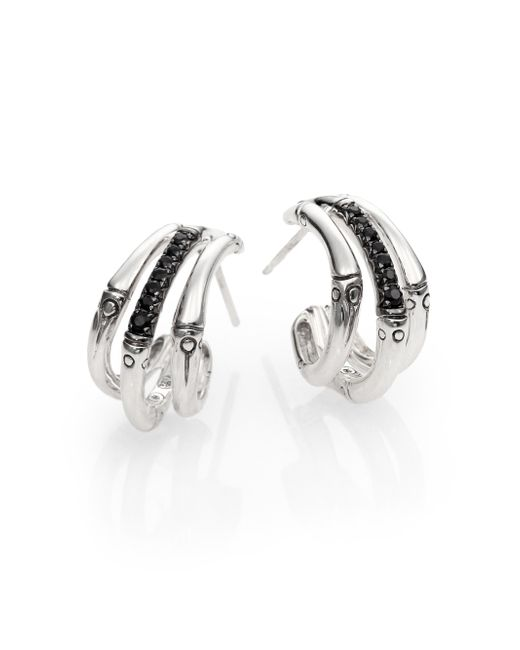 John Hardy | Metallic Bamboo Black Sapphire & Sterling Silver Bamboo Lava Triple Hoop Earrings/1 | Lyst