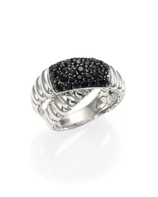 John Hardy | Blue Bedeg Black Sapphire & Sterling Silver Crossover Ring | Lyst