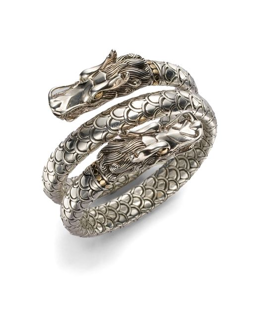 John Hardy | Metallic Naga 18k Yellow Gold & Sterling Silver Dragon Head Double Coil Bracelet | Lyst