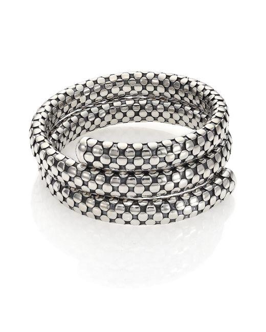 John Hardy | Metallic Dot Sterling Silver Double-coil Bracelet | Lyst