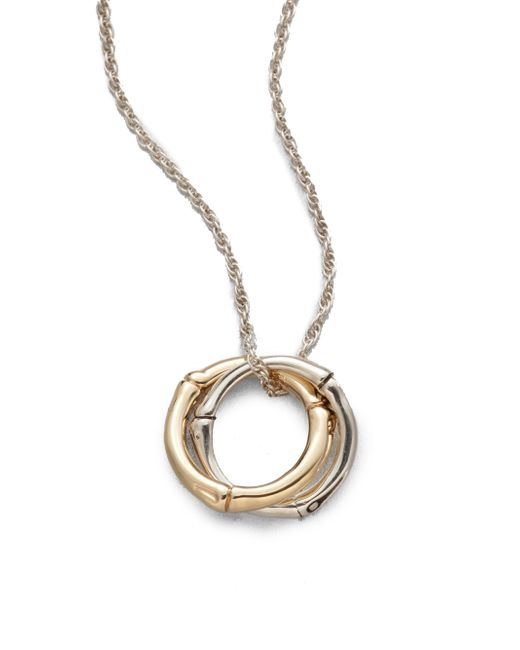 John Hardy | Metallic Bamboo 18k Yellow Gold & Sterling Silver Small Interlinking Pendant Necklace | Lyst