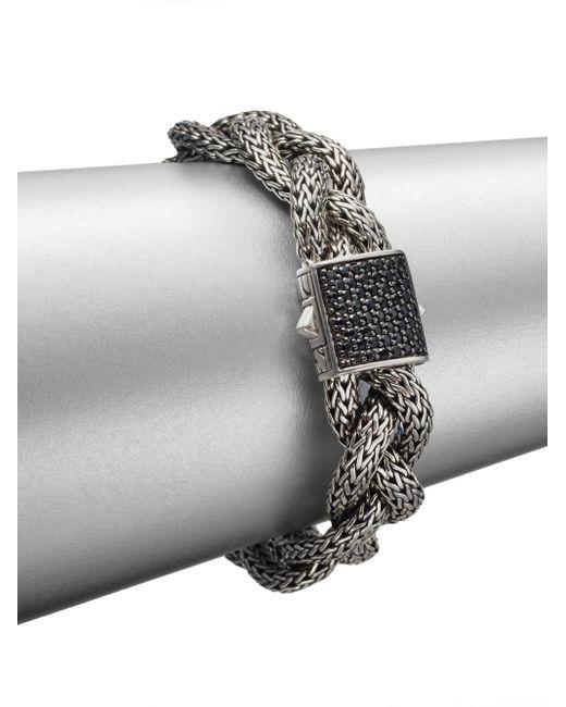 John Hardy | Gray Classic Chain Black Sapphire & Sterling Silver Medium Braided Bracelet | Lyst