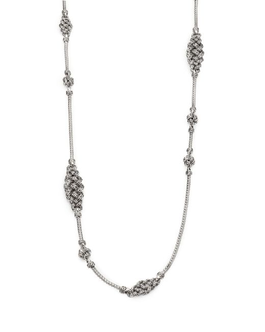 John Hardy | Metallic Classic Chain Sterling Silver Short Knot Station Necklace | Lyst