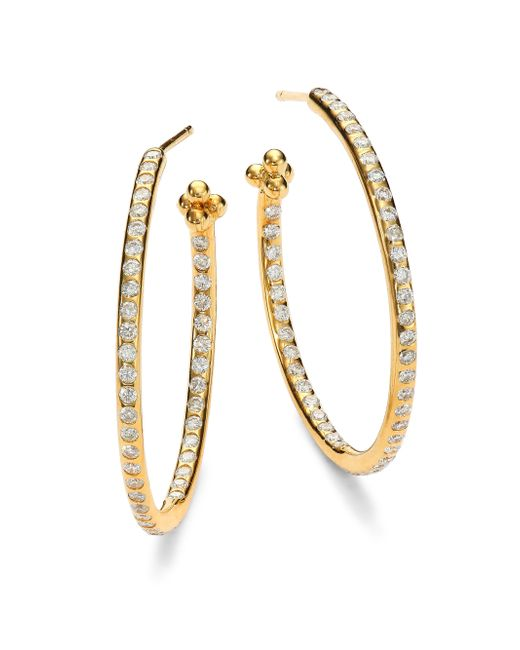 Temple St. Clair | Metallic Classic Diamond & 18k Yellow Gold Hoop Earrings/1.2 | Lyst