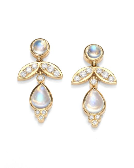 Temple St. Clair | Metallic Foglia Royal Blue Moonstone, Diamond & 18k Yellow Gold Drop Earrings | Lyst