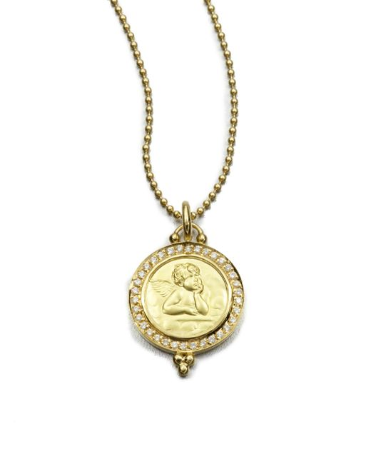 Temple St. Clair | Metallic Angel Diamond & 18k Yellow Gold Pendant | Lyst