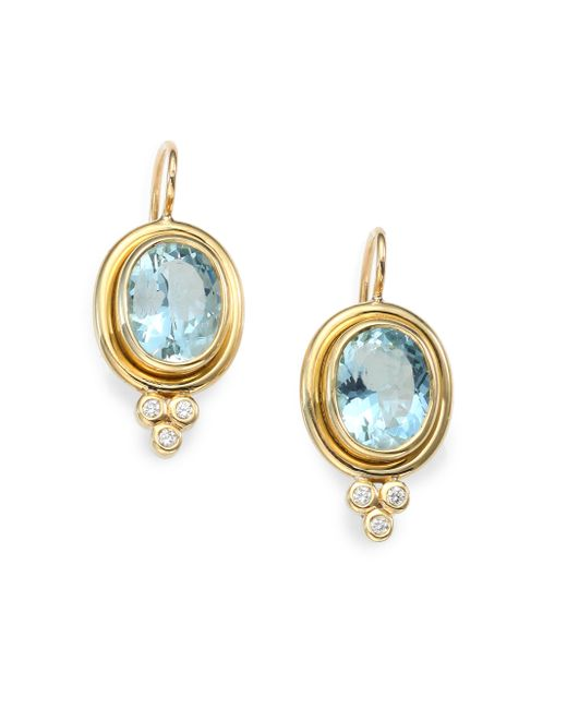 Temple St. Clair   Metallic Classic Color Aquamarine, Diamond & 18k Yellow Gold Oval Drop Earrings   Lyst