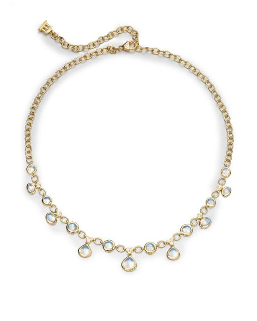 Temple St. Clair | Metallic Royal Blue Moonstone, Diamond & 18k Yellow Gold Half Bib Necklace | Lyst