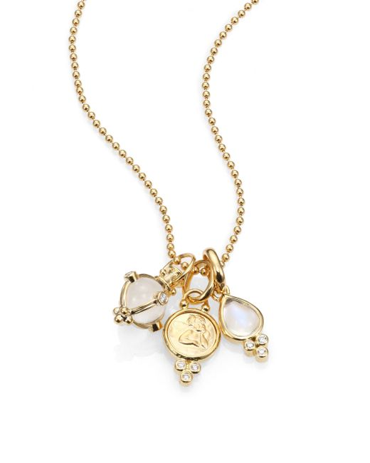 Temple St. Clair | Metallic Rock Crystal, Moonstone, Diamond & 18k Yellow Gold Charm Necklace | Lyst