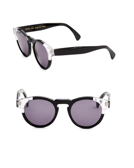 Illesteva - Black Leonard Split Back 48mm Round Sunglasses - Lyst