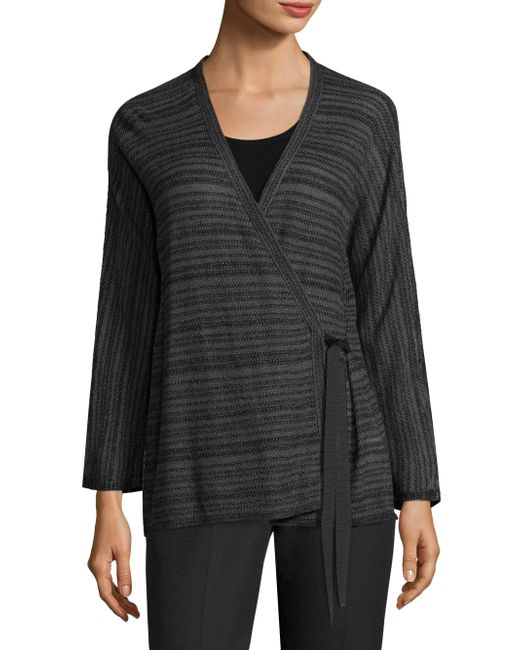 Eileen Fisher - Black Wrapped Cardigan - Lyst