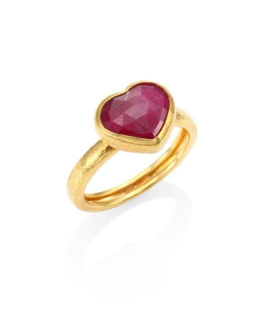 Gurhan   Metallic Amulet Hue Ruby & 22-24k Yellow Gold Heart Ring   Lyst