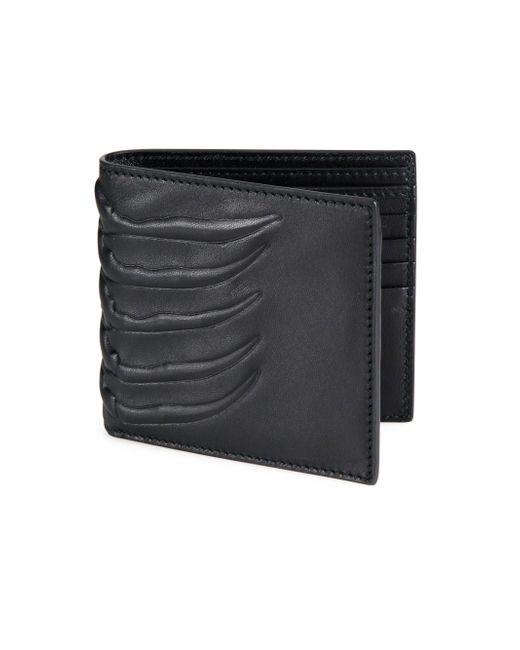 Alexander McQueen - Black Leather Billfold Wallet for Men - Lyst