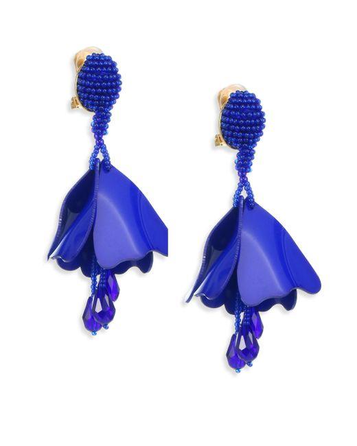 Oscar de la Renta - Blue Mini Impatiens Flower Metallic Clip-on Earrings - Lapis - Lyst