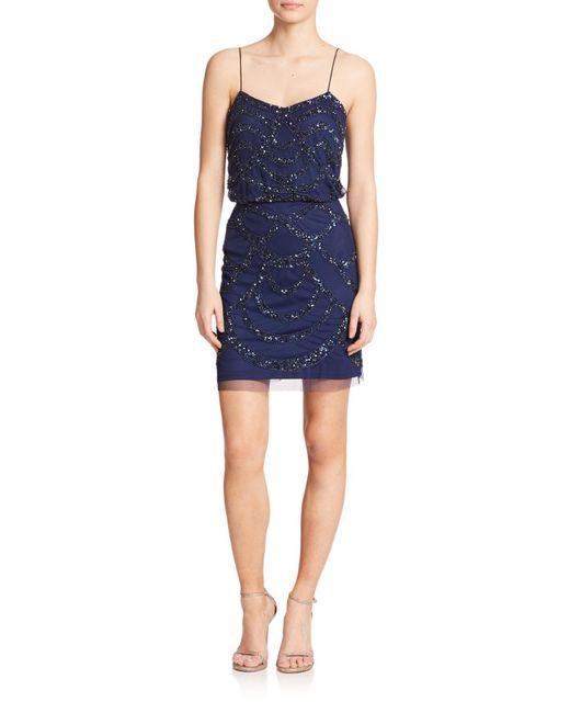 Aidan Mattox | Blue Sequined Blouson Bridesmaid Dress | Lyst