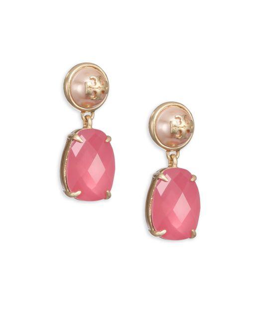 Tory Burch | Pink Faux-pearl & Crystal Drop Earrings | Lyst