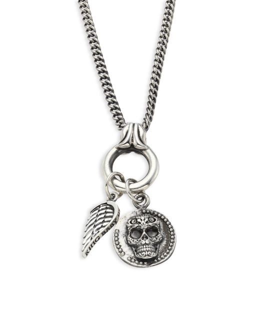 King Baby Studio - Metallic Baroque Sterling Silver Baby Skull Coin & Wing Pendant Necklace for Men - Lyst