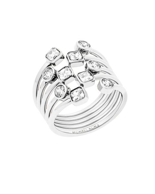 Michael Kors | Metallic Modern Brilliance Layered Crystal Ring/silvertone | Lyst