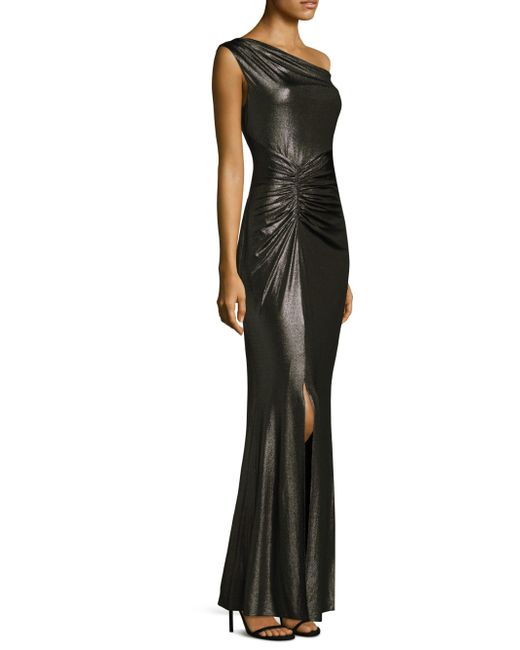 Laundry by Shelli Segal | Metallic Shirred Floor-length Gown | Lyst