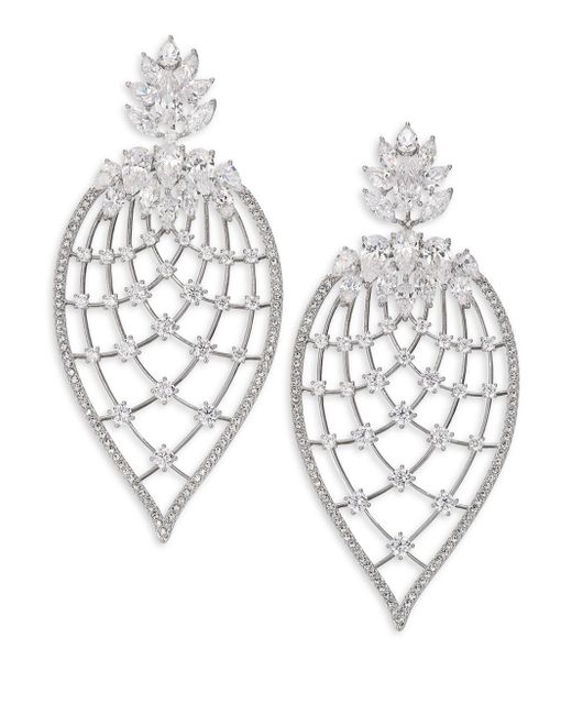 Adriana Orsini | Metallic Magnolia Crystal Petal Drop Earrings | Lyst