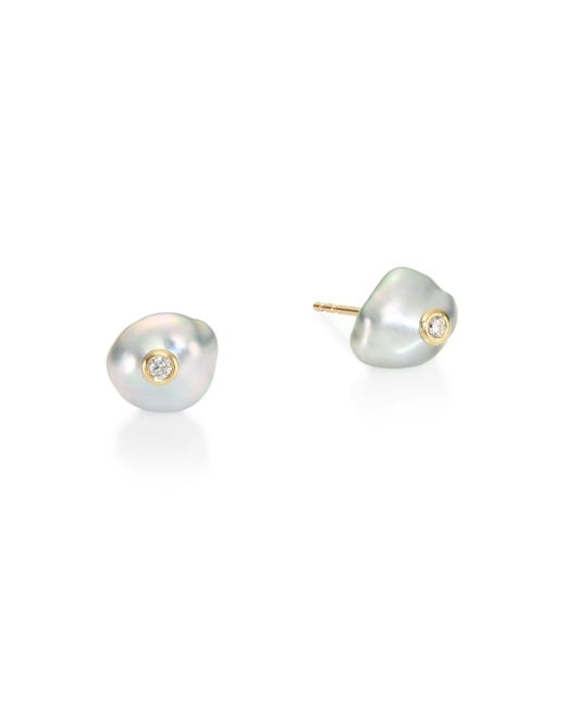 Mizuki | Metallic 10mm Keshi Pearl & Diamond Stud Earrings | Lyst
