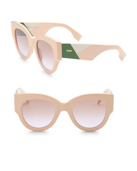 Fendi - Pink Facets 51mm Round Cat Eye Sunglasses - Lyst